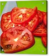 Red Tomato Slices And Knife On Green Chopping Board Acrylic Print