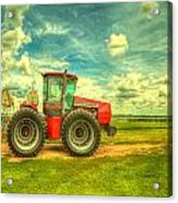 Red Tractor Farm Acrylic Print by  Caleb McGinn