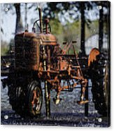 Red Tractor Fountain Acrylic Print