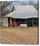 Red Tractor In A Tin Roofed Shed Acrylic Print
