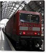 Red Train To The Main Train Station In Frankfurt Am Main Germany Acrylic Print
