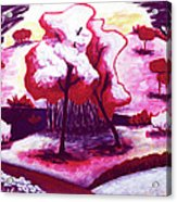 Red Trees In Love Acrylic Print