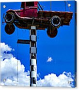 Red Truck With Cross Acrylic Print