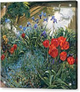Red Tulips And Geese  Acrylic Print
