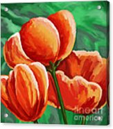 Red Tulips On Green Acrylic Print