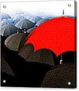 Red Umbrella In The City Acrylic Print