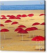 Red Umbrellas Acrylic Print by Carlos Caetano