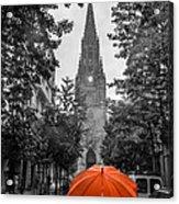 Red Under Rain Acrylic Print