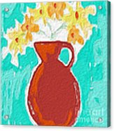 Red Vase Of Flowers Acrylic Print
