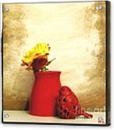 Red Vase Red Bird And Red Yellow Rose Acrylic Print by Marsha Heiken
