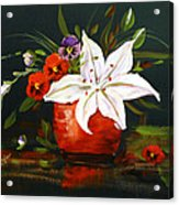Red Vase With Lily And Pansies Acrylic Print
