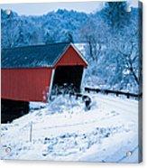 Red Vermont Covered Bridge Acrylic Print