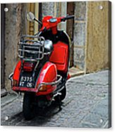 Red Vespa Scooter Parked In Sidestreet Acrylic Print