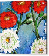 Red White And Blue Flowers Acrylic Print