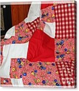 Red White And Gingham With Flowery Blocks Patchwork Quilt Acrylic Print