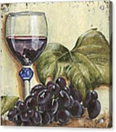 Red Wine And Grape Leaf Acrylic Print
