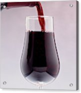 Red Wine Bottle Pouring Into A Glass Acrylic Print