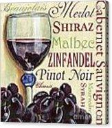 Red Wine Text Acrylic Print by Debbie DeWitt