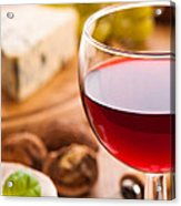 Red Wine With Cheese Acrylic Print by Amanda Elwell
