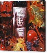Red Wine With Red Pomergranates Acrylic Print