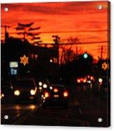 Red Winter Sunset Over Long Island Suburbs Acrylic Print