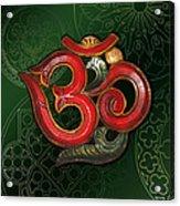 Red Wooden Om Green Mandala Acrylic Print