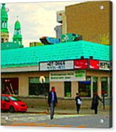 Rediscover Your Greenspot Notre Dame St Henri Dogs Et Frites Urban Food City Scenes Carole Spandau  Acrylic Print