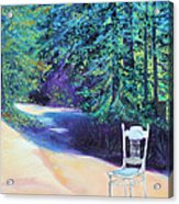 Redwood Path And White Chair Acrylic Print