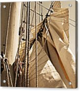 Reefing The Mainsail In Sepia Acrylic Print