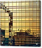 Reflected Cranes At Sunset Acrylic Print