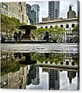 Reflecting In Bryant Park Acrylic Print by Shmuli Evers