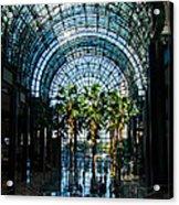 Reflecting On Palm Trees And Arches Acrylic Print by Georgia Mizuleva