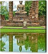 Reflecting Pool At Wat Mahathat In 13th Century Sukhothai Historical Park-thailand Acrylic Print