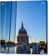 Reflecting St Pauls Acrylic Print by Andrew Lalchan