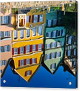 Reflection Of Colorful Houses In Neckar River Tuebingen Germany Acrylic Print