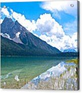 Reflection Of Glaciers And Clouds In Emerald Lake In Yoho National Park-british Columbia-canada Acrylic Print