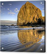 Reflection Of Haystack Rock At Cannon Beach 2 Acrylic Print