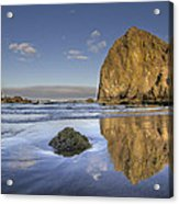 Reflection Of Haystack Rock At Cannon Beach 3 Acrylic Print