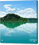 Reflection Of Isola Maggiore And Minore And Summer Sky  In Still Acrylic Print