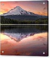 Reflection Of Mount Hood On Trillium Lake At Sunset Acrylic Print