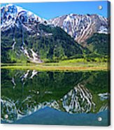 Reflection Of Mountains In Tern Lake Acrylic Print