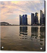 Reflection Of Singapore Skyline Panorama Acrylic Print
