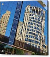 Reflections In The Rolex Bldg. Acrylic Print