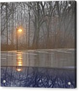 Reflections Of A Lamp On The Edge Of A Foggy Forest Acrylic Print