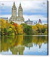 Reflections Of Autumn Central Park Lake  Acrylic Print