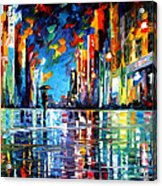 Reflections Of The Blue Rain - Palette Knife Oil Painting On Canvas By Leonid Afremov Acrylic Print