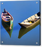 Reflections Of Two Canoes Acrylic Print