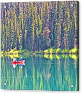 Reflective Fishing On Emerald Lake In Yoho National Park-british Columbia-canada  Acrylic Print