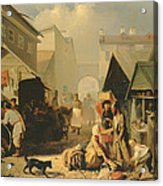 Refreshment Stall In St. Petersburg, 1858 Oil On Canvas Acrylic Print
