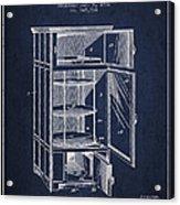 Refrigerator Patent From 1901 - Navy Blue Acrylic Print